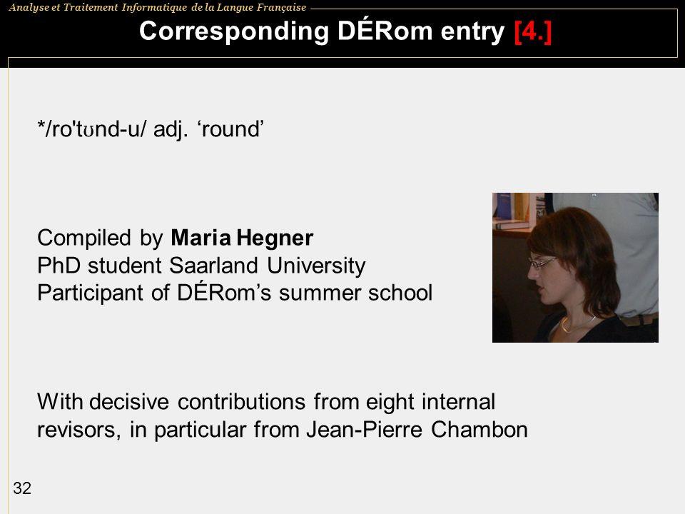 Corresponding DÉRom entry [4.]